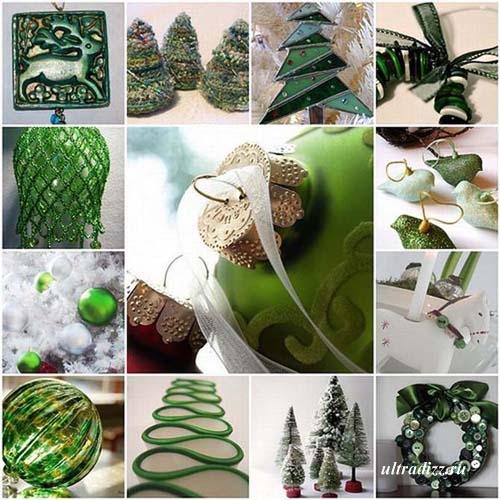 новогодний декор в зеленом цвете