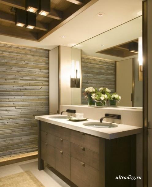 каменная кладка в интерьере ванной