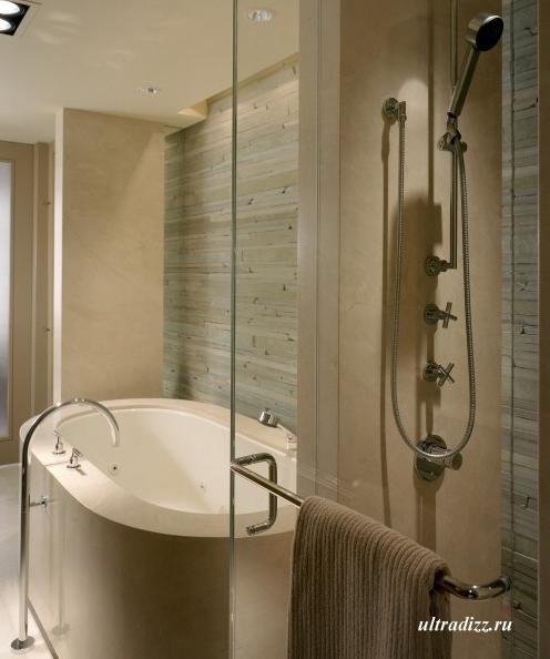 каменная кладка в современной ванной