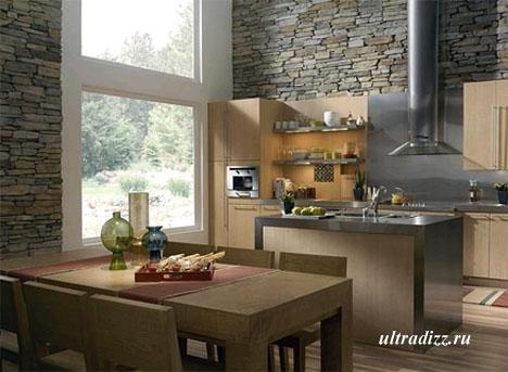 каменная кладка в интерьере кухни