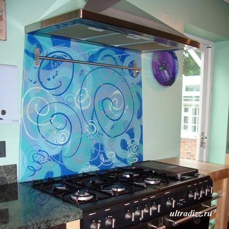 декоративный кухонный фартук из стекла 3
