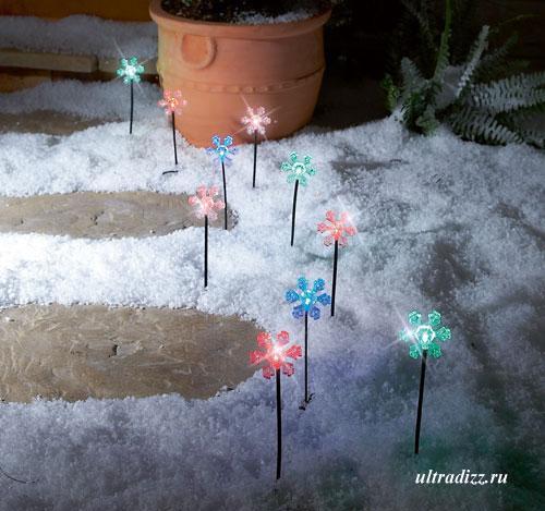 подсветка тропинок в виде снежинок