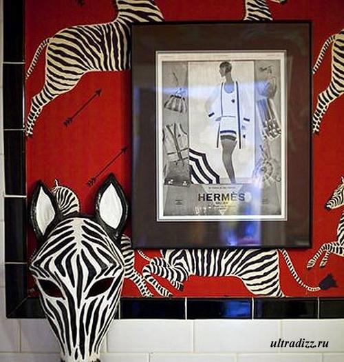оригинальное панно с изображением зебры