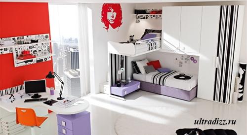 стильный музыкальный дизайн комнаты подростка