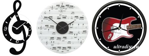 часы для комнаты подростка в музыкальном стиле