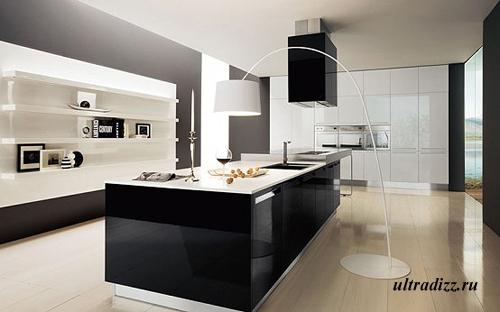 черно-белый дизайн кухни 2