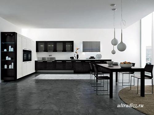 черно-белый интерьер кухни 4