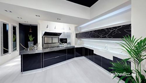 черно-белый интерьер кухни 3