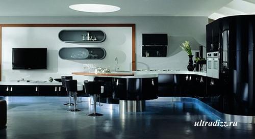 черно-белый цвет в интерьере кухни 1