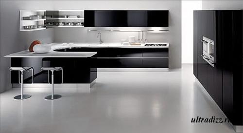 черно-белый цвет в интерьере кухни 2