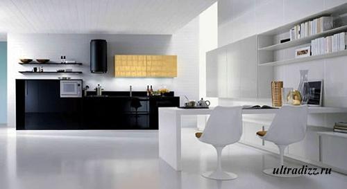 черно-белый цвет в дизайне кухни 10