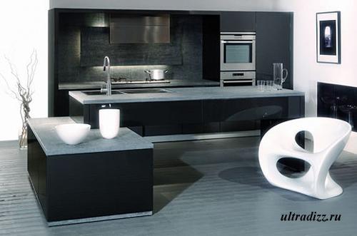 черно-белый интерьер кухни 5