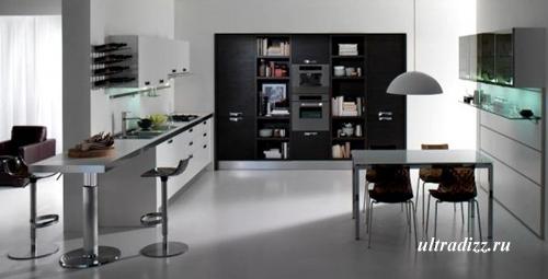 черно-белый цвет в интерьере кухни 7