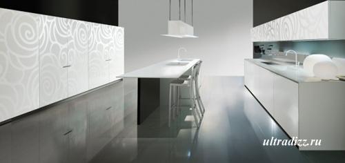 черно-белый цвет в интерьере кухни 9