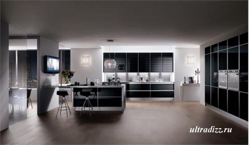черно-белый цвет в дизайне кухни 8