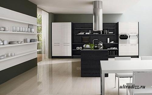 черно-белый дизайн кухни 1