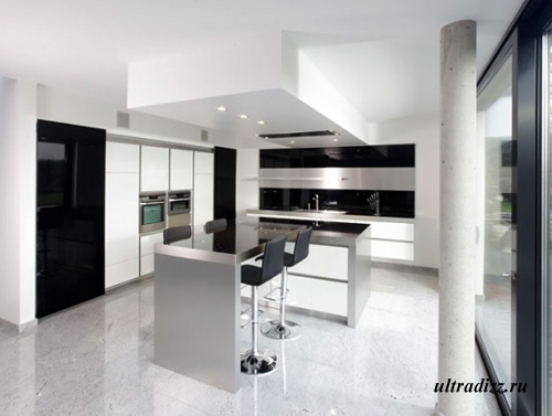 черно-белый цвет в интерьере кухни 11