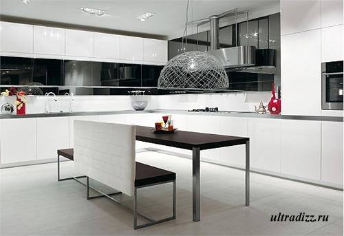 черно-белый интерьер кухни 2