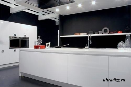 черно-белый цвет в дизайне кухни 1