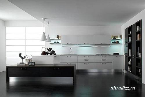 черно-белый цвет в интерьере кухни 6