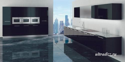 черно-белый цвет в интерьере кухни 10