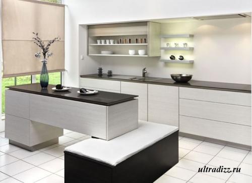 черно-белый цвет в интерьере кухни 12