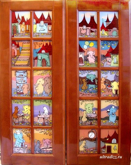 дверки с росписью по стеклу
