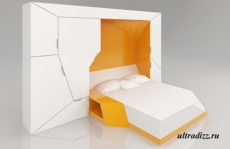 откидная кровать компактной спальни