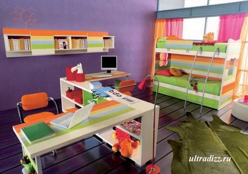 фиолетовые детали в дизайне детской