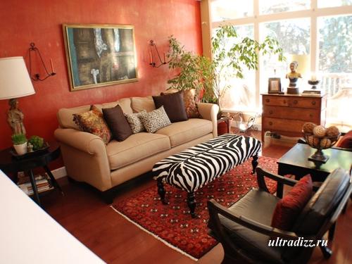 красный интерьер гостиной 2
