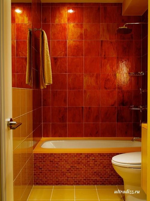 красный интерьер ванной комнаты 3