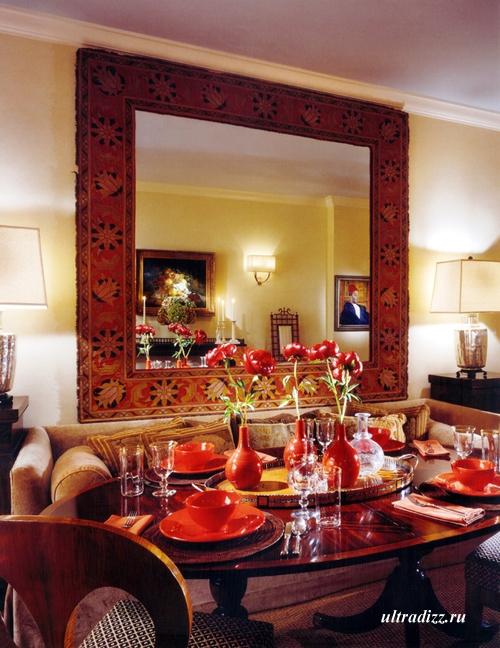красный интерьер столовой 1