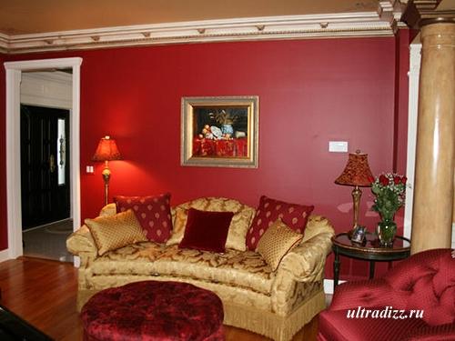 красный интерьер гостиной 4