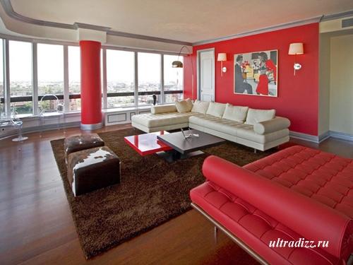 красный интерьер гостиной 1