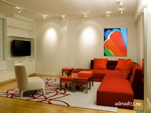 красный интерьер гостиной 3