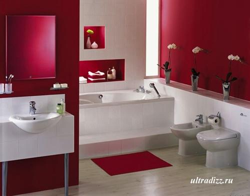 красный интерьер ванной комнаты 4