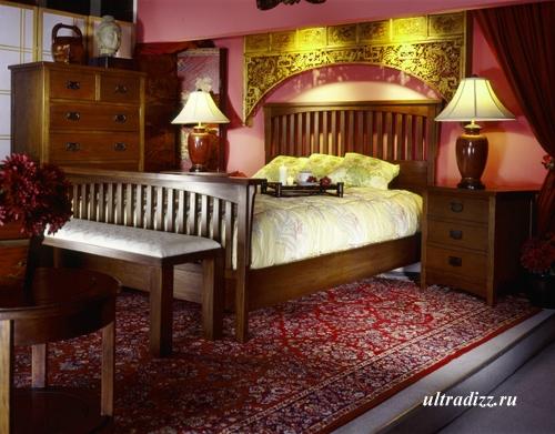 красный интерьер спальни 4