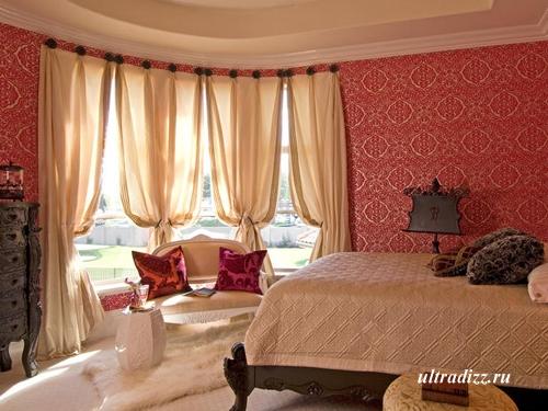 красный интерьер спальни 3