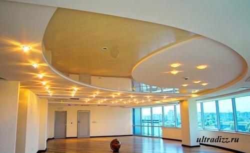 комбинированные потолки с французской тканью 2