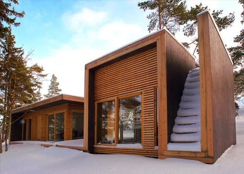 современный деревянный коттедж 1