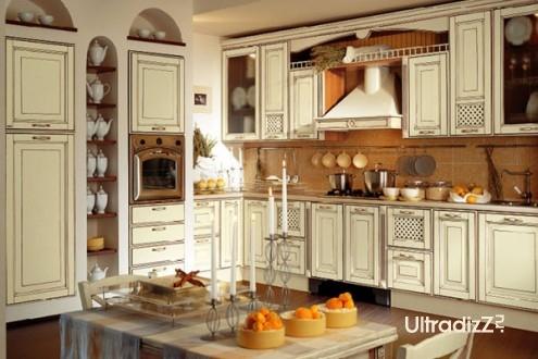 встроенный духовой шкаф в традиционном интерьере кухни