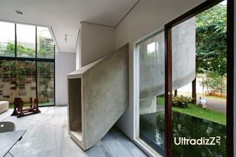 бетонная горка в интерьере дома 1