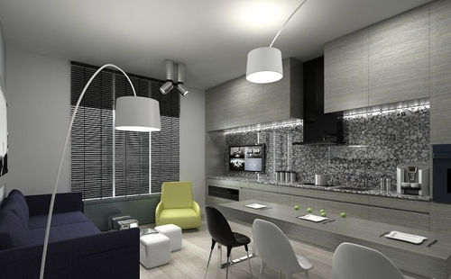 интерьер маленькой квартиры в сером цвете 1