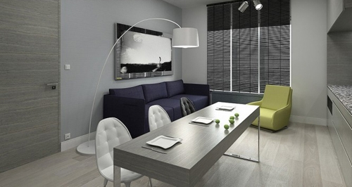 интерьер маленькой квартиры в сером цвете 2