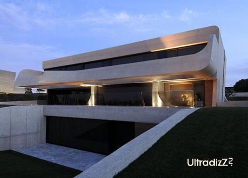 наружная подсветка дома из бетона