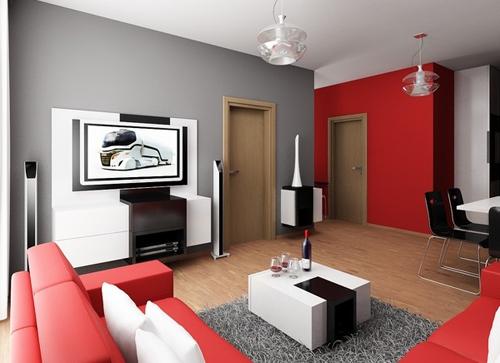 интерьер маленькой квартиры в черно-бело-красной гамме