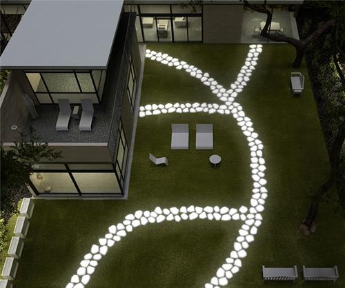 вечерний дизайн светящейся дорожки