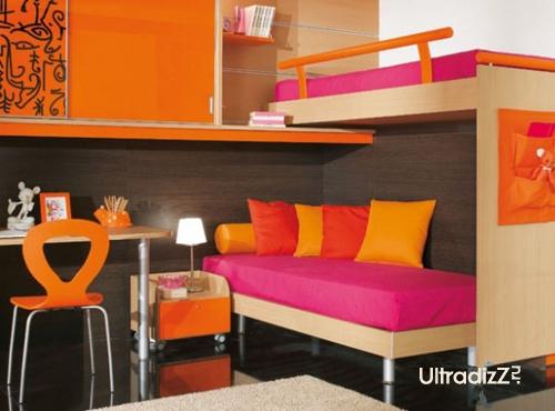 сочетание розового в интерьере с оранжевым и желтым