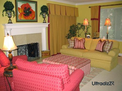 розовые оттенки в интерьере гостиной