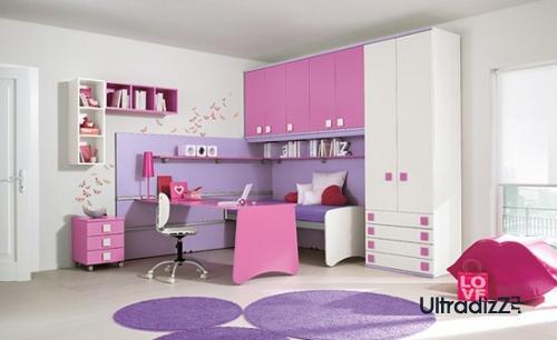 современная детская спальня с сочетанием розового и сиреневого
